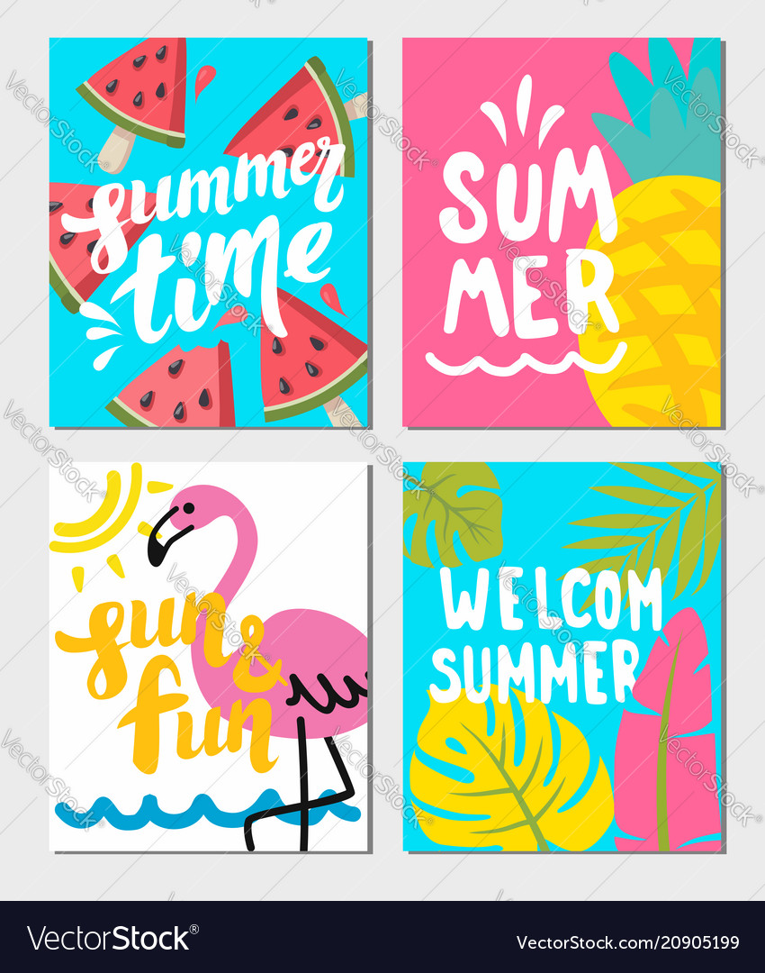 summer themed posters royalty free vector image