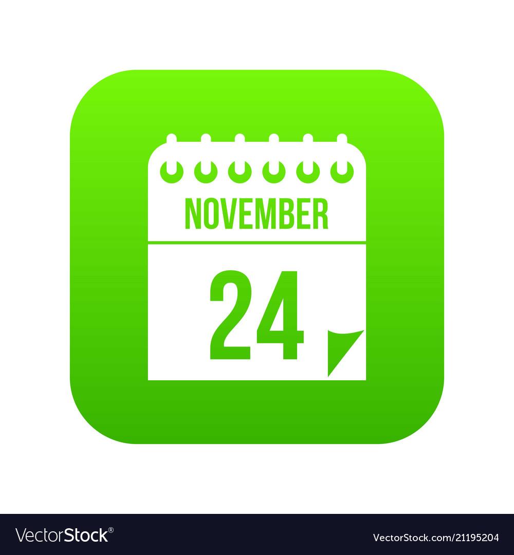 24 november calendar icon digital green