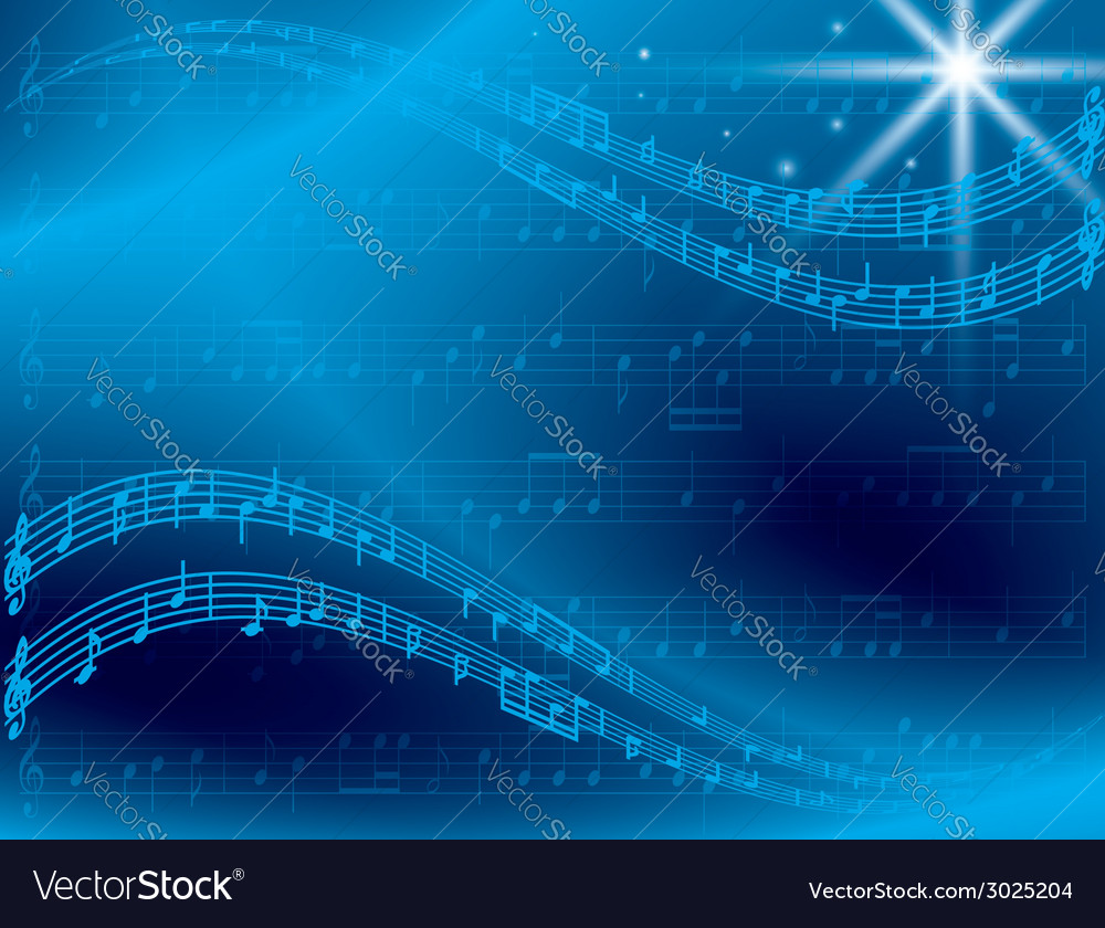 Abstract blue music background with star