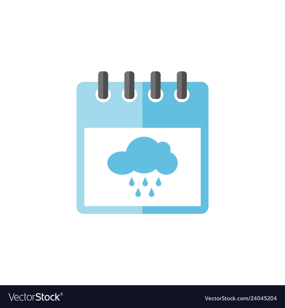 Calendar with rainy cloud icon
