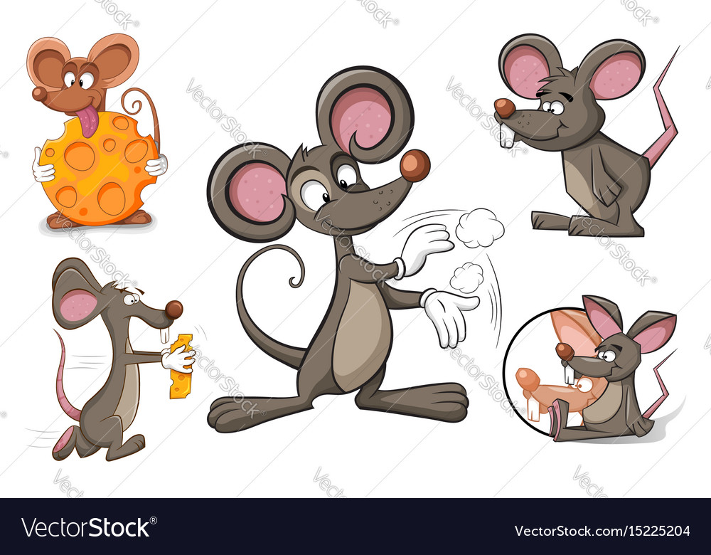 Cartoon character mouse and cheese