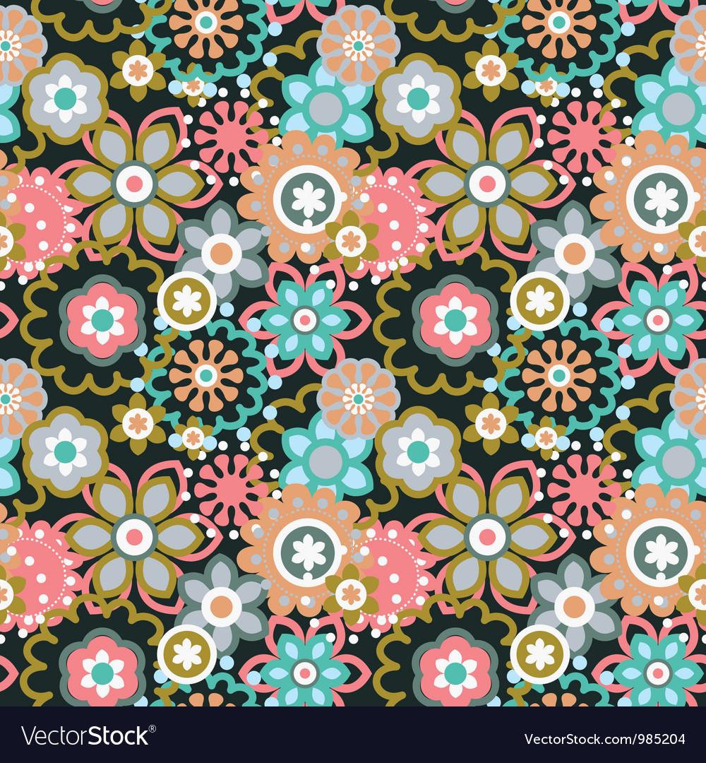 Cartoon floral seamless pattern