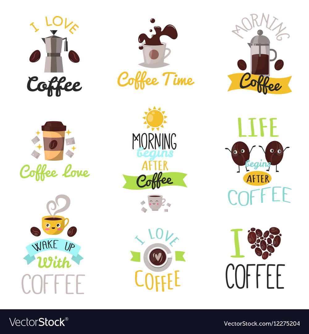 Coffee time drinks badges