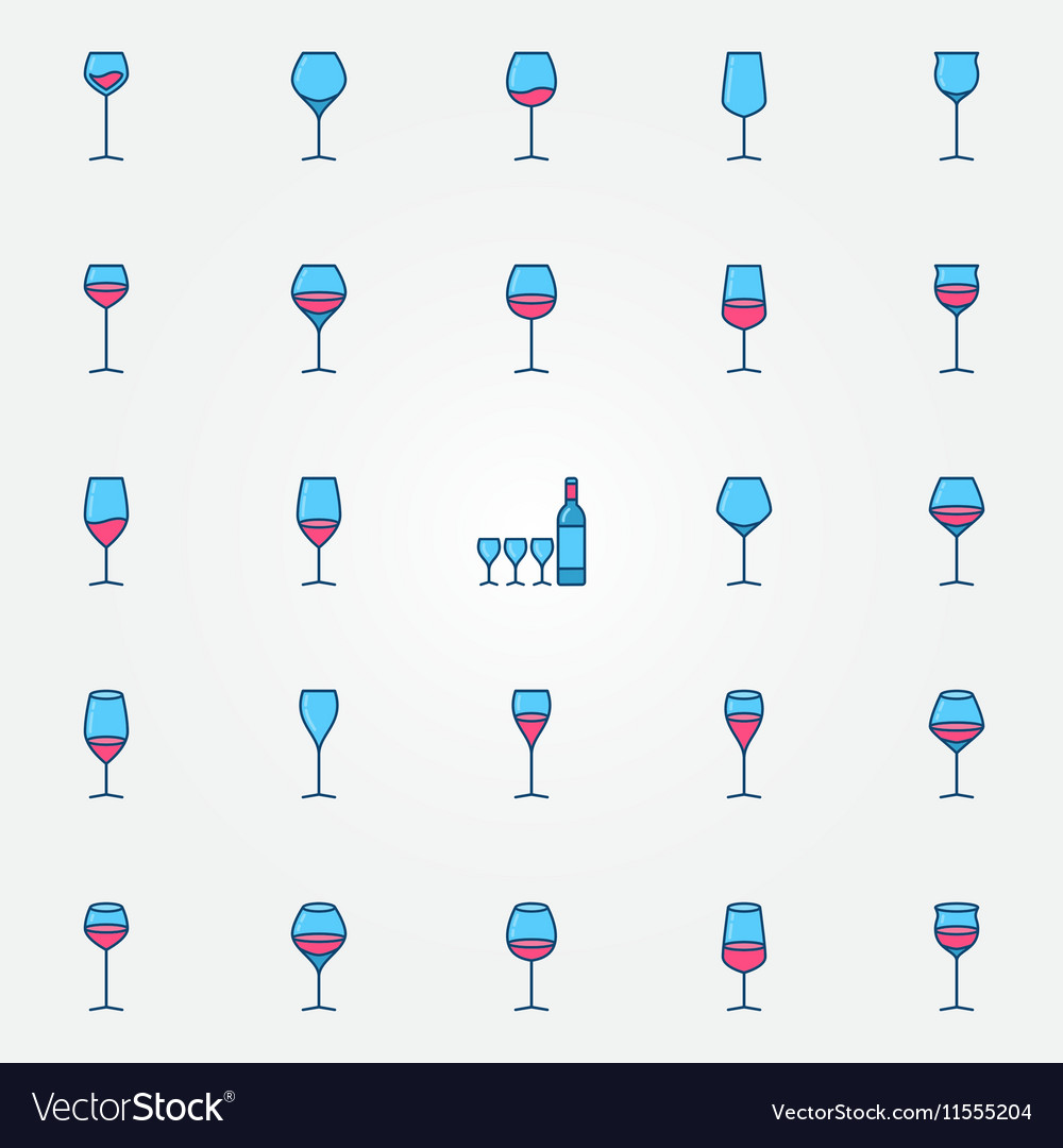 Colorful wine glasses icons