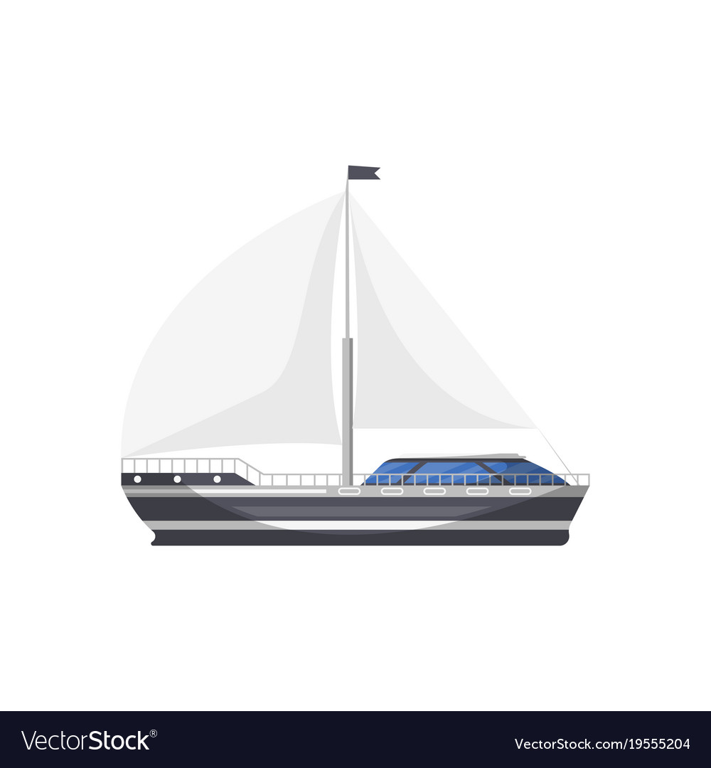 Cruise Yacht Side View Isolated Icon Vector Image