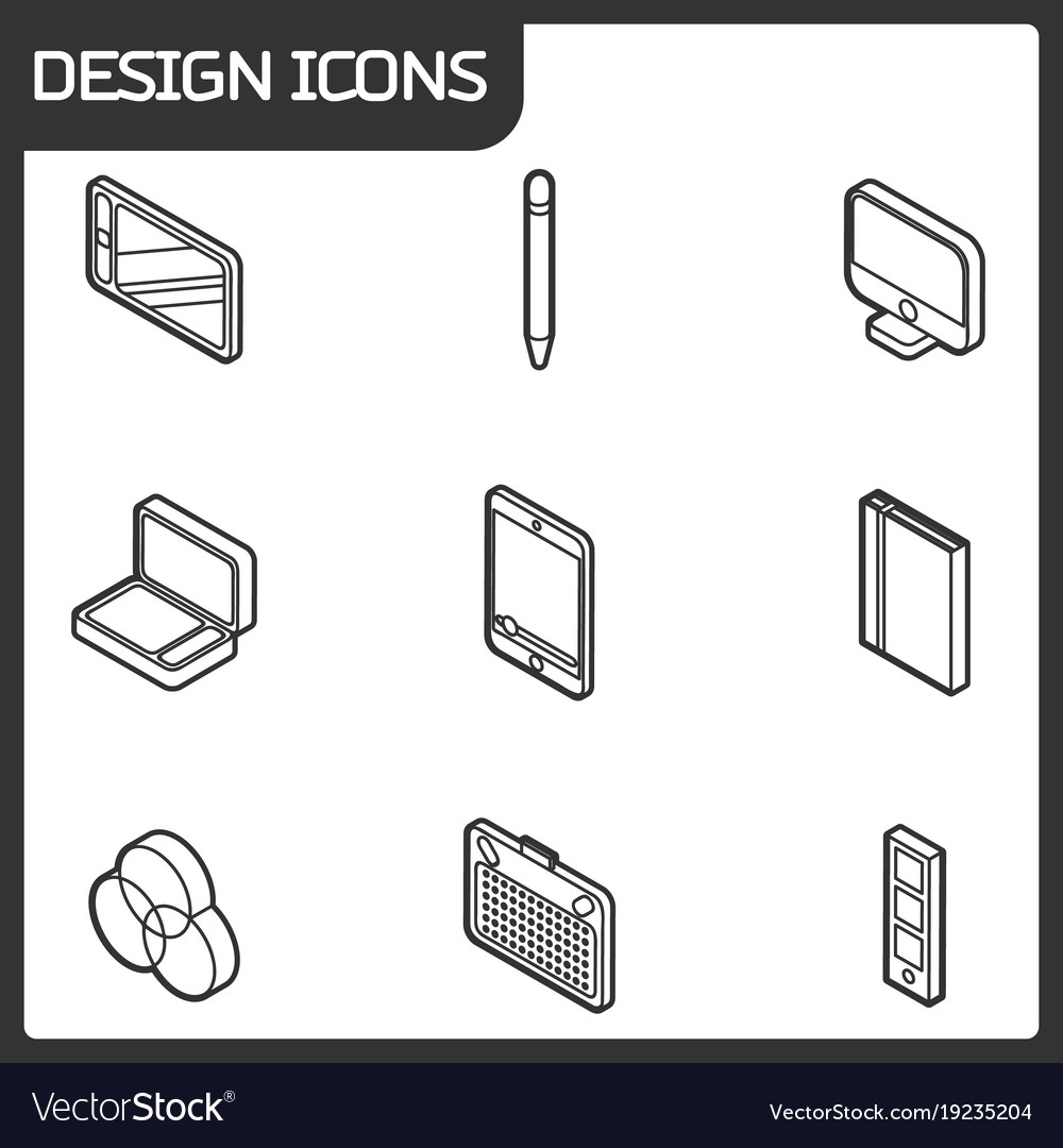 Design outline isometric icons
