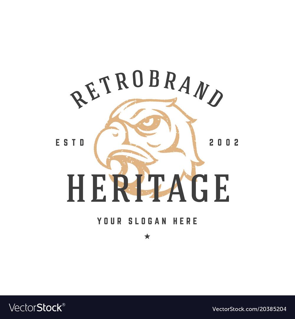 Eagle hand drawn logo isolated on white background