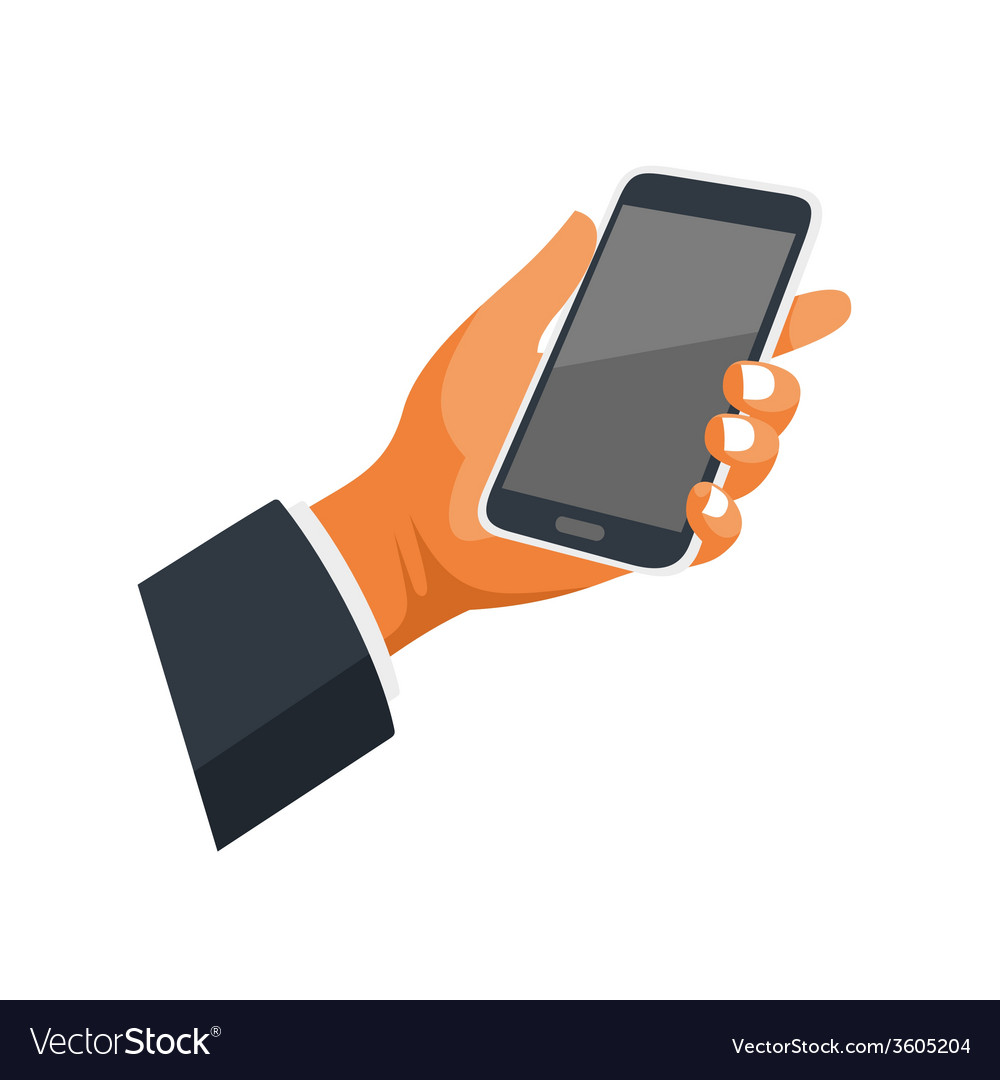 Mobile Phone in Hand Icon on White Background