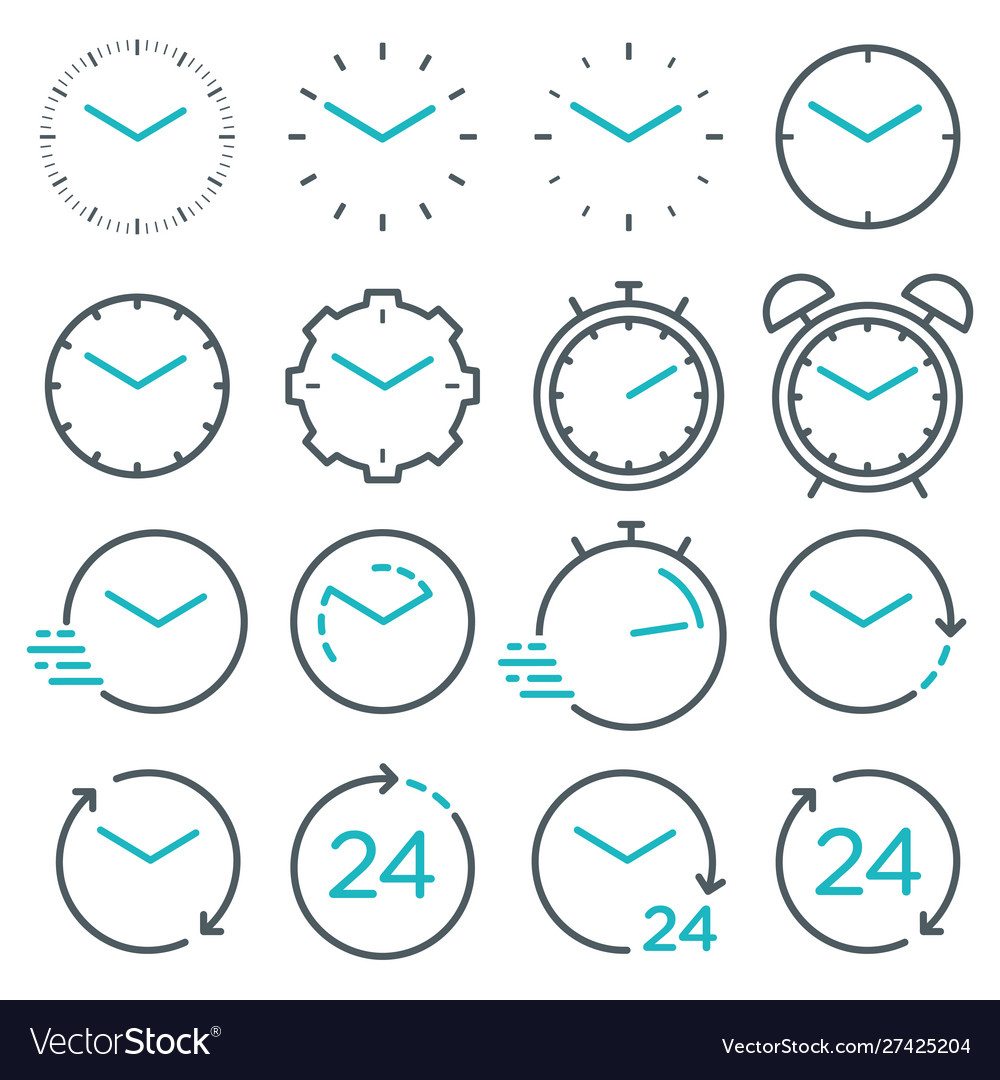 Time and clock line isolated icons linear icon
