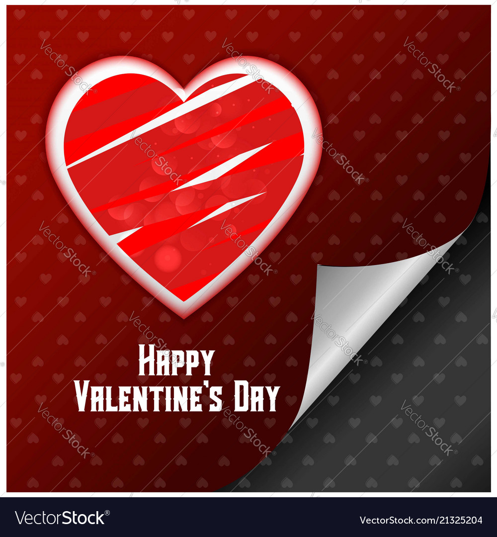 Valentines day card with hearts and red pattern