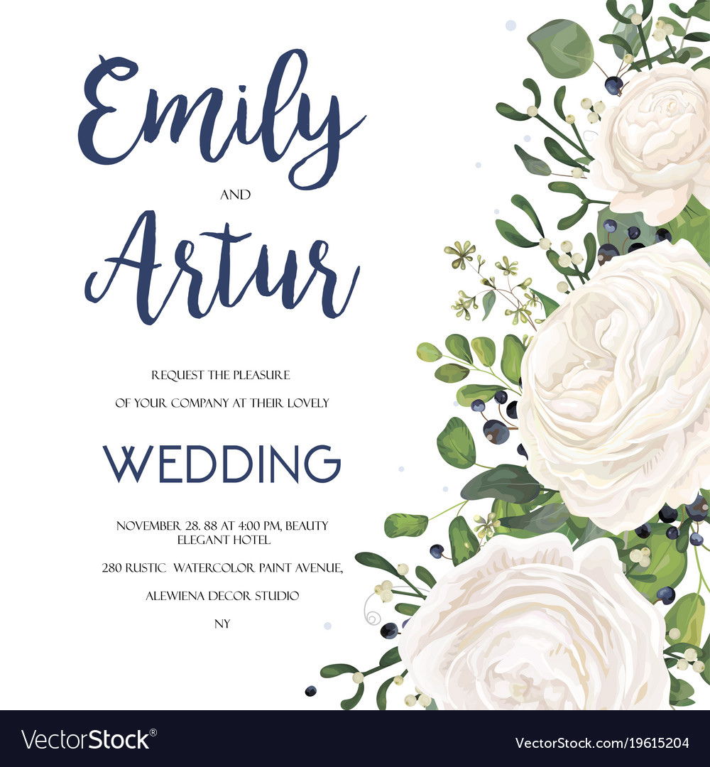 Wedding Invite Card Design With White Flowers Vector Image