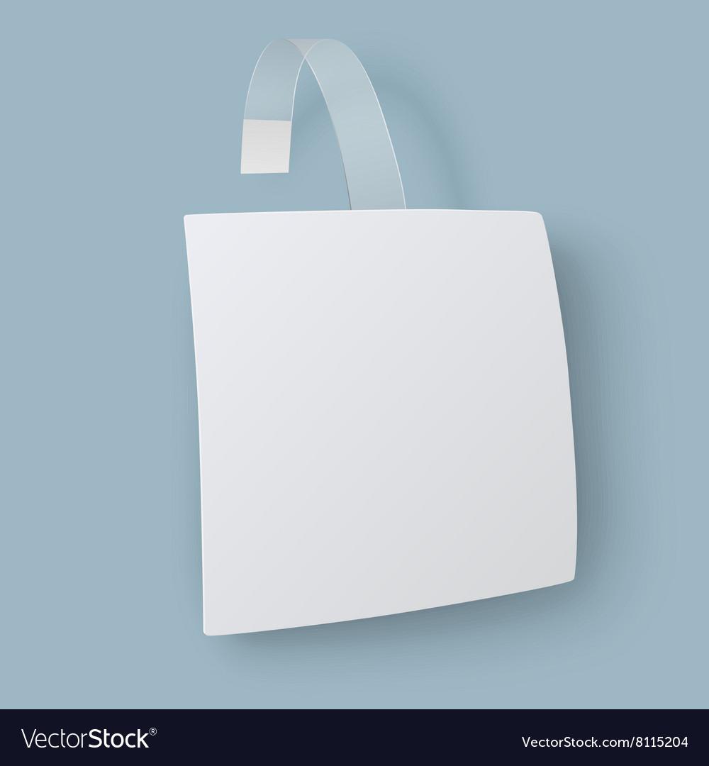 White square paper advertising wobbler