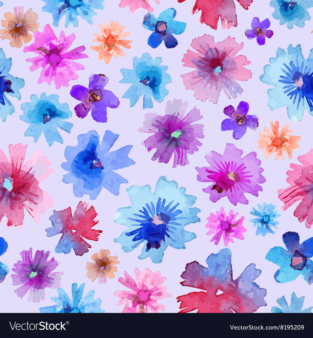 Abstract Watercolor Flower Pattern Modern Flower