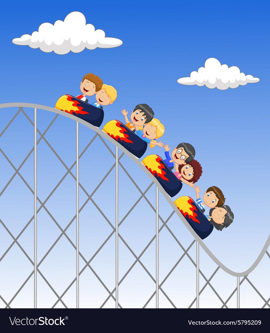 Cartoon little kid play in rollercoaster vector image