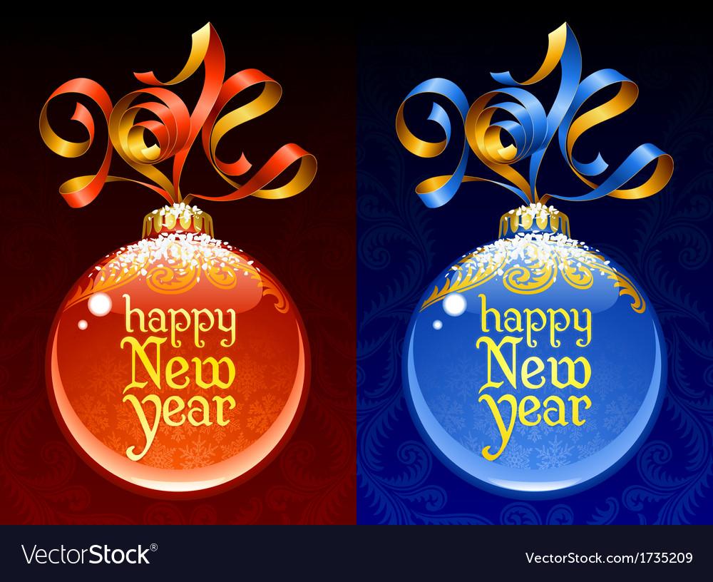 Christmas and New Year circle frame ribbon vector image