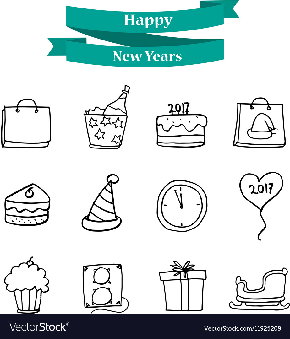 Collection new year element icons vector image