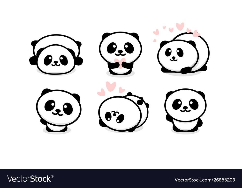 Friendly and cute pandas set chinese bear icons