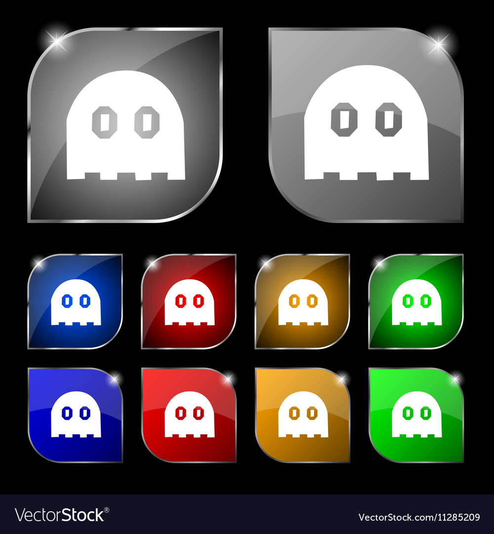 Ghost icon sign Set of ten colorful buttons with