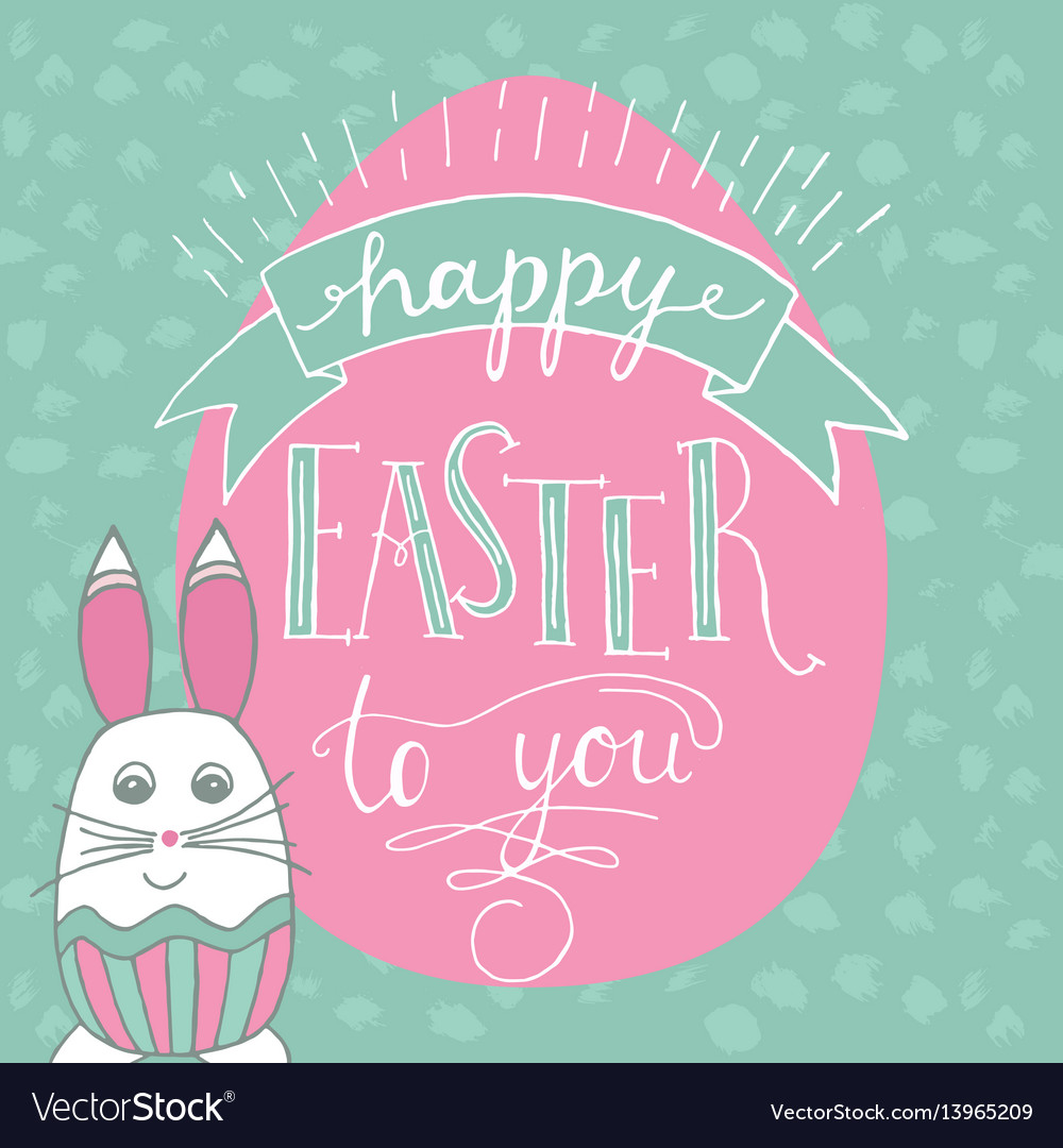 Happy easter lettering and rabbit hand written