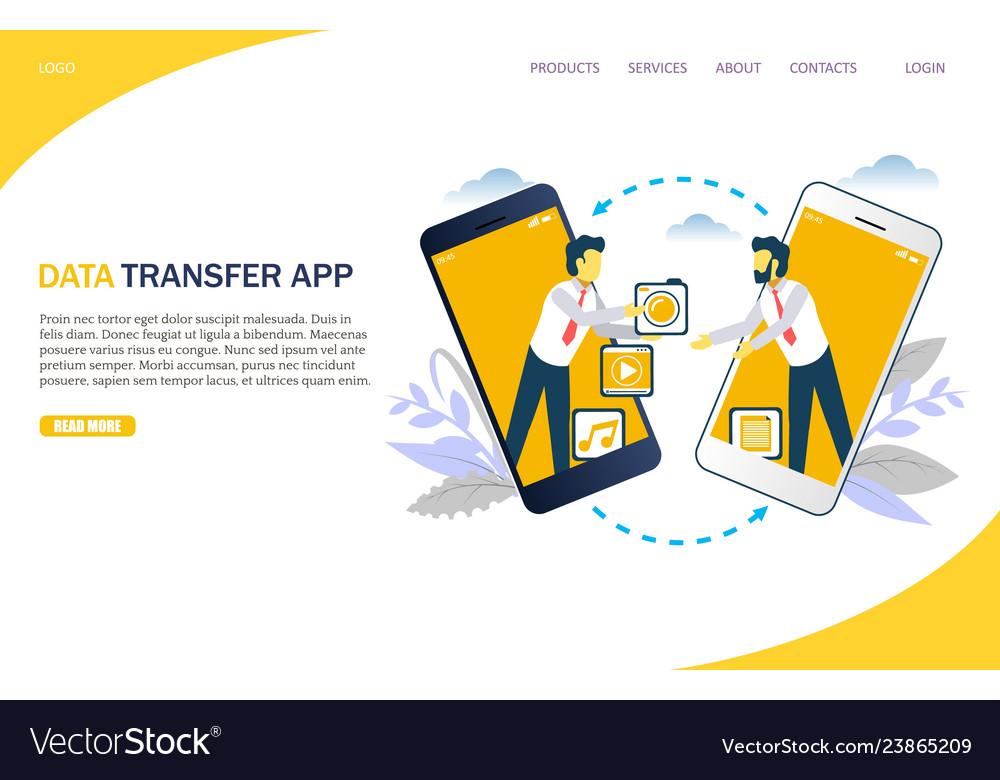 Media transfer website landing page design