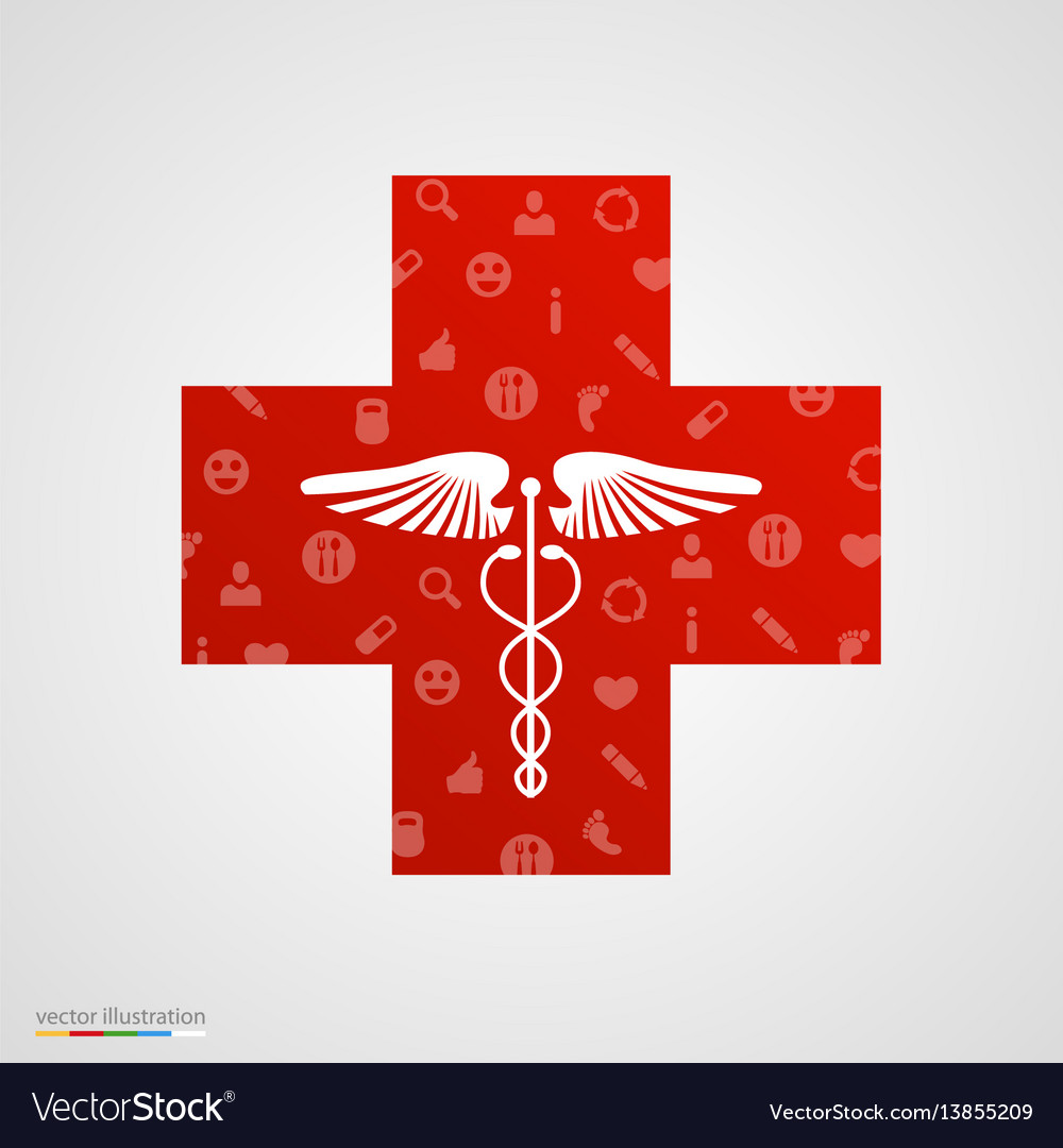 Medical cross with medical icons
