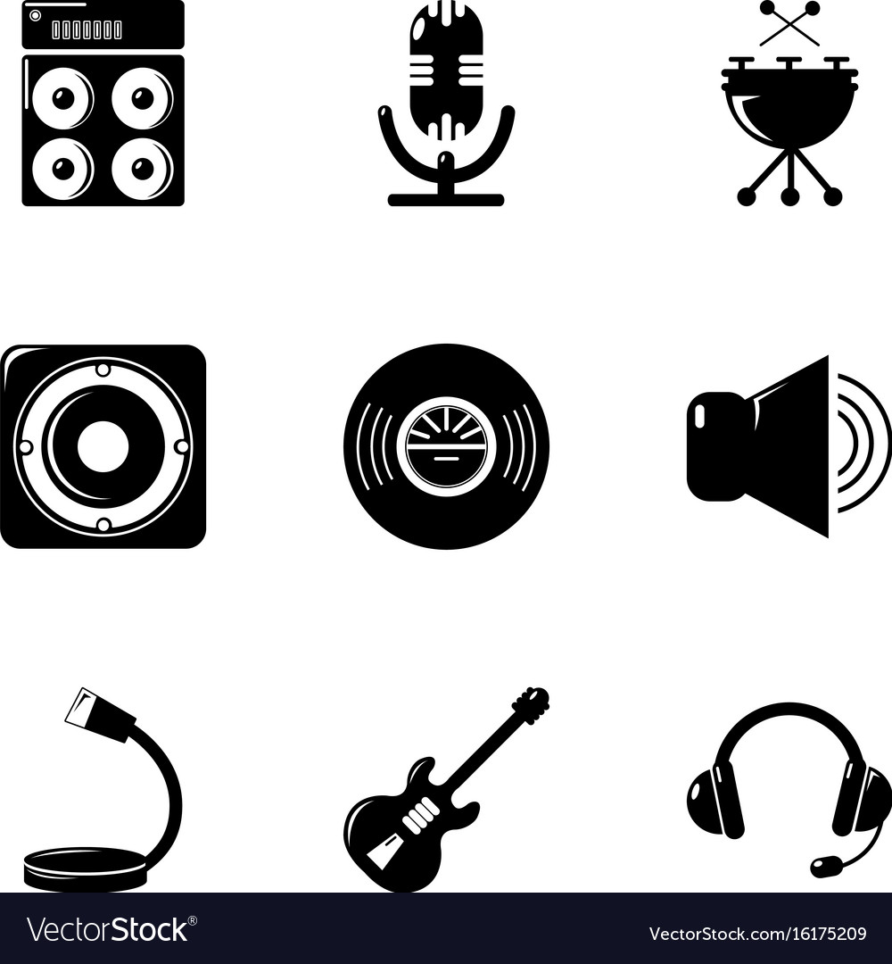 Music equalizer icons set simple style
