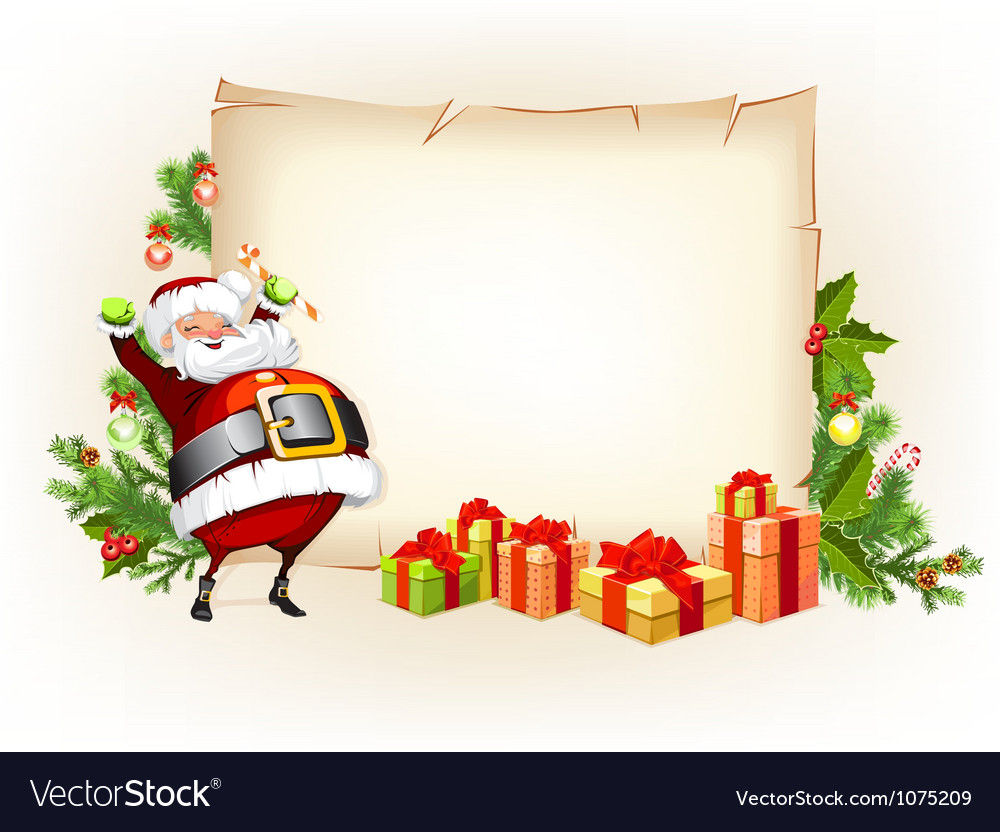 Santa Claus holding candy and standing beside
