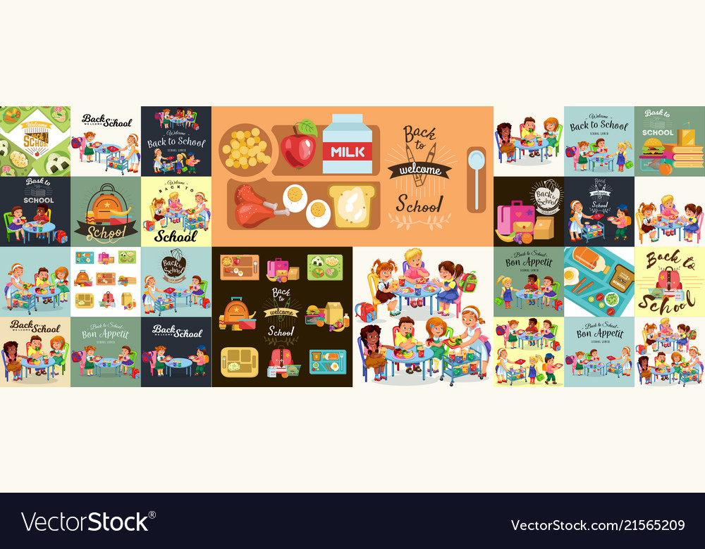 School lunch set composition of posters with