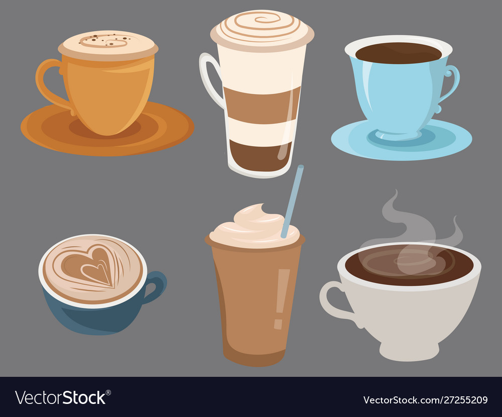Set coffee drinks in cups collection of