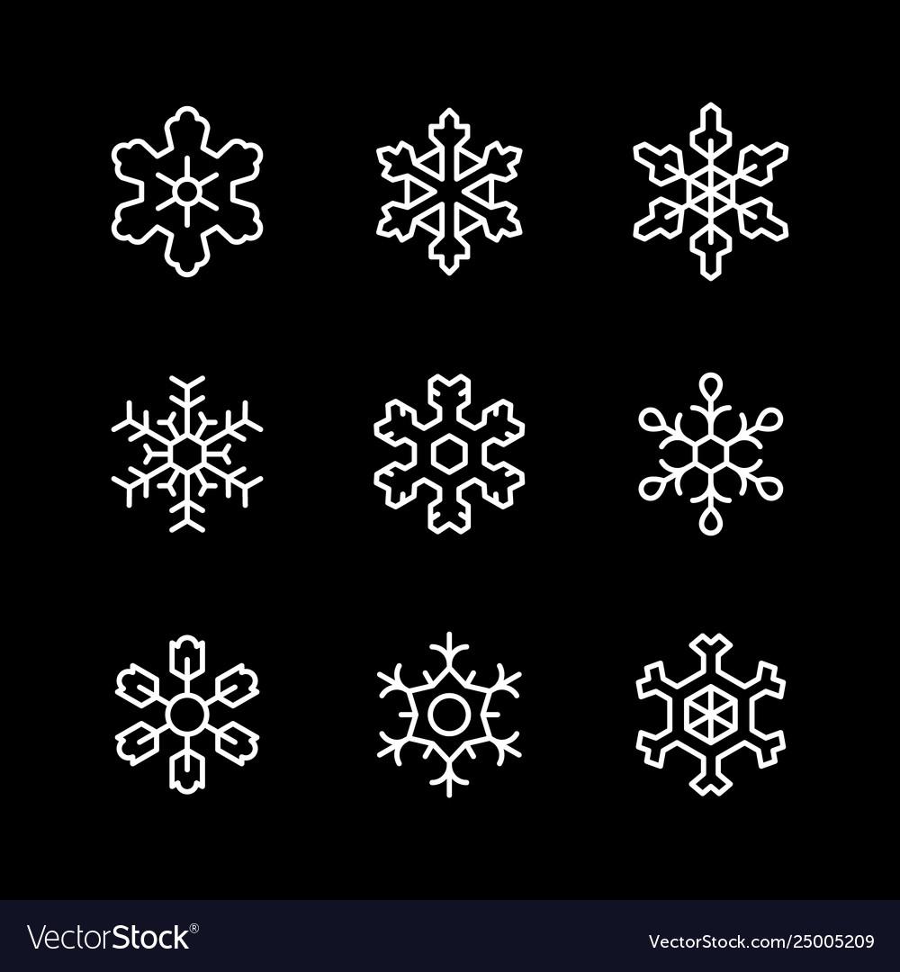 Set line icons snowflake