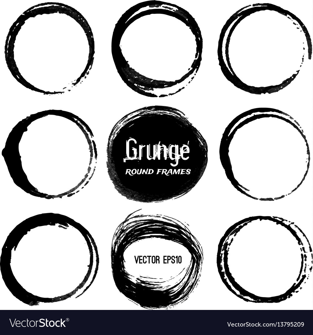 Set of round grunge frames