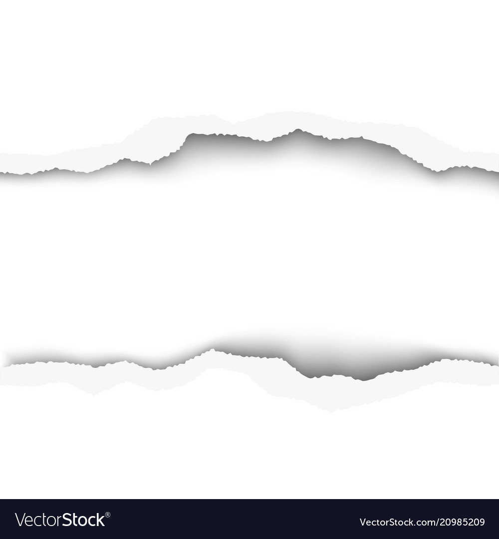 Snatched middle of white paper background with vector image