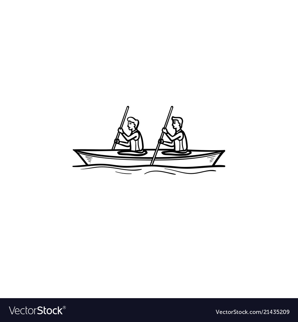 Water sport canoe hand drawn outline doodle icon
