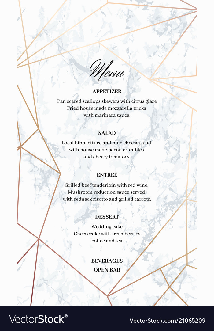 Wedding Menu Template.Wedding Menu Template Card Of Geometric Design