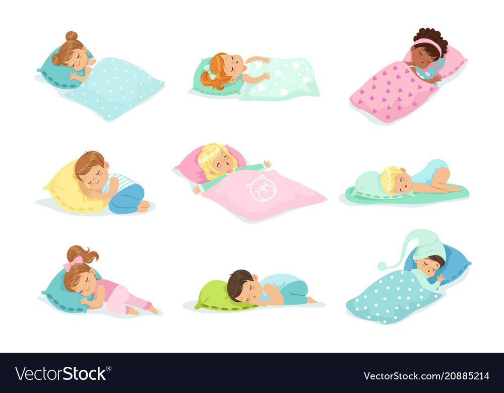 Adorable little boys and girls sleeping sweetly in