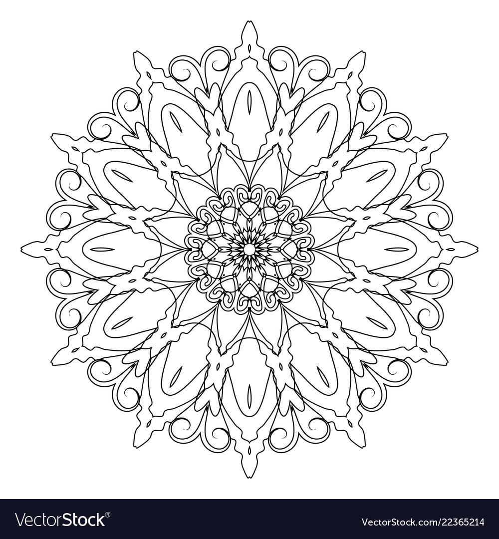 Coloring book page round decorative ethnic motif