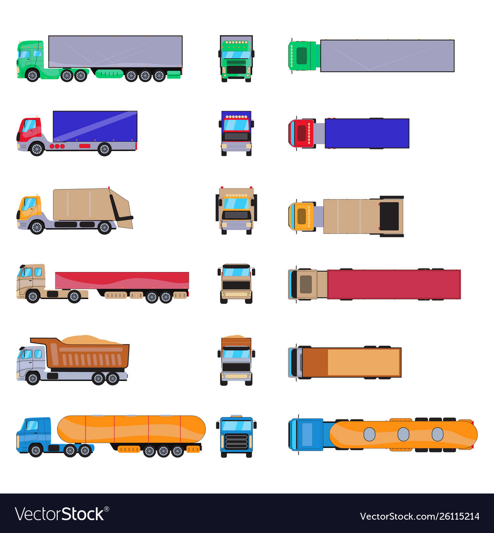 Different cargo truck with container big trailer