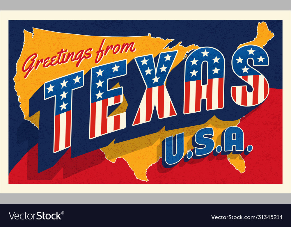 Greetings from texas usa retro postcard