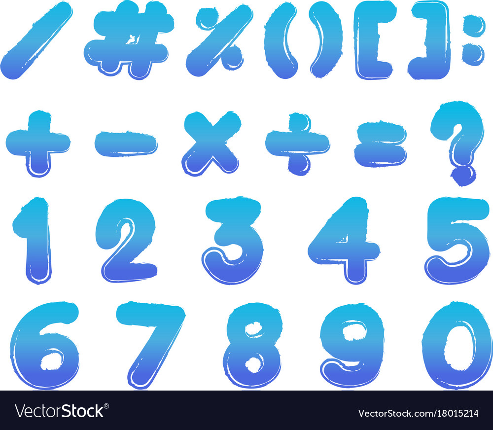 Numbers and signs in blue color Royalty Free Vector Image