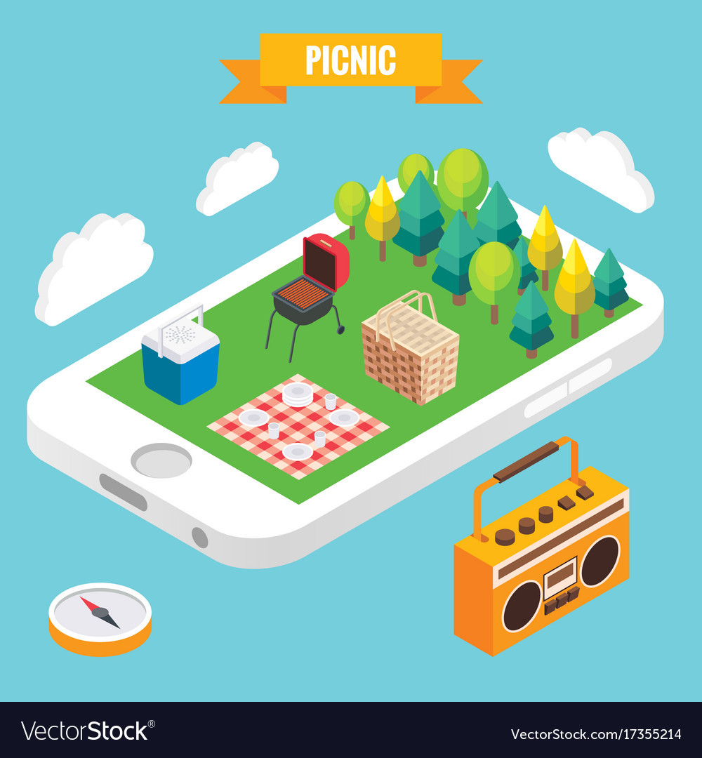 Picnic in a park isometric objects on mobile phone