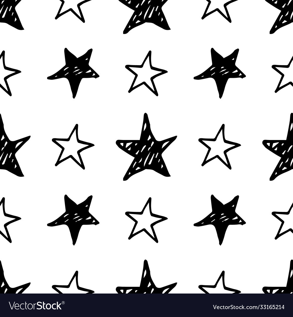 Seamless star pattern hand drawn sketch stars vector