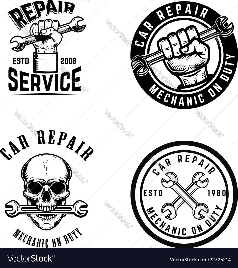 Set car repair emblems design element for logo