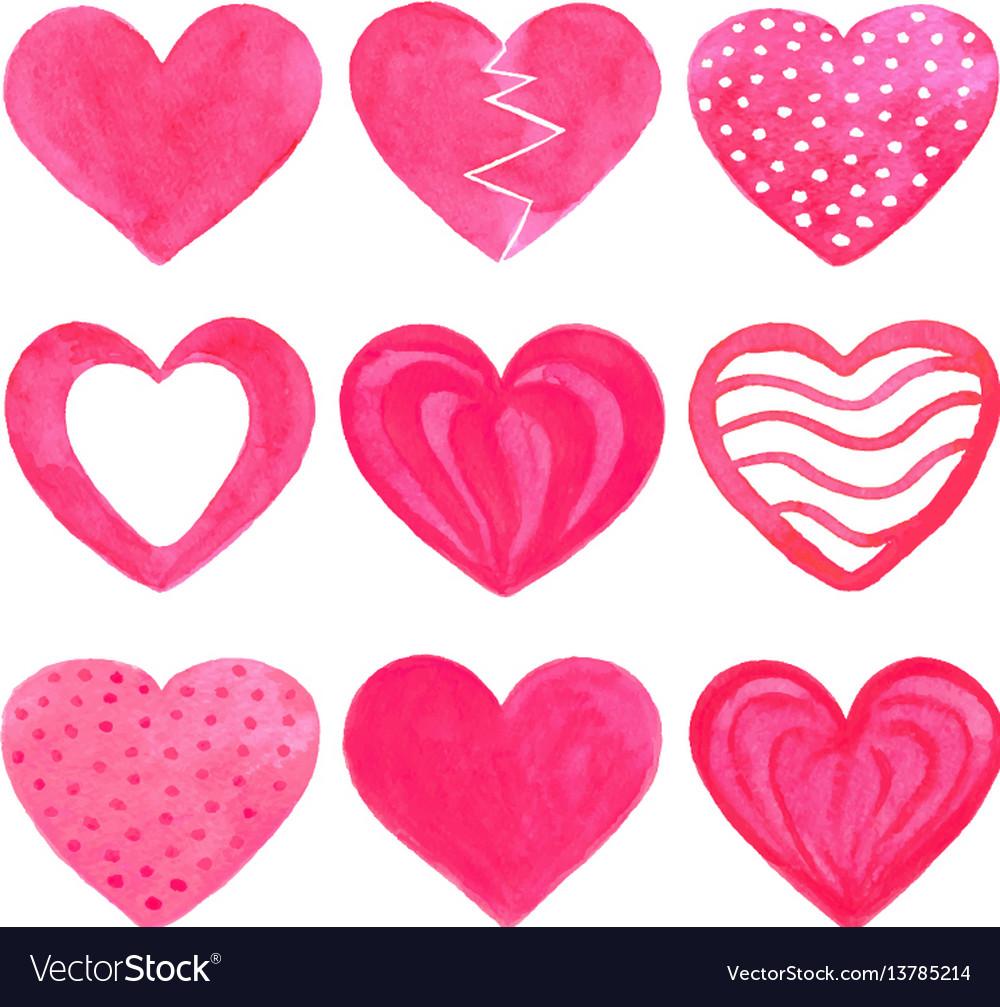 Set of pink watercolor hearts