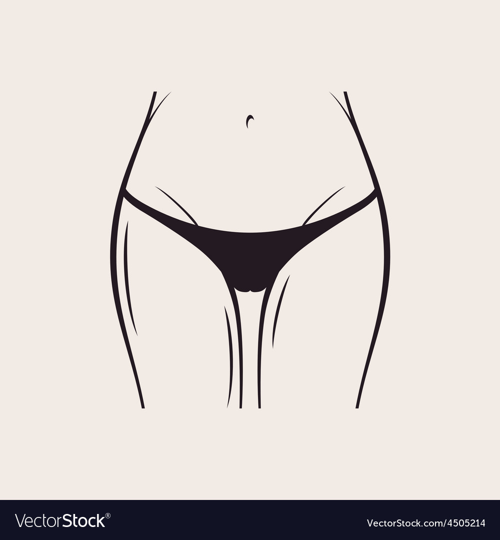 Sexy black panties icon women thong slim figure vector image