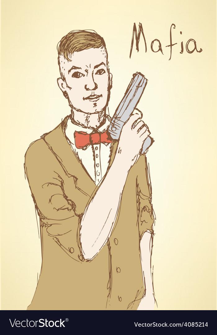 Sketch fancy mafia in vintage style
