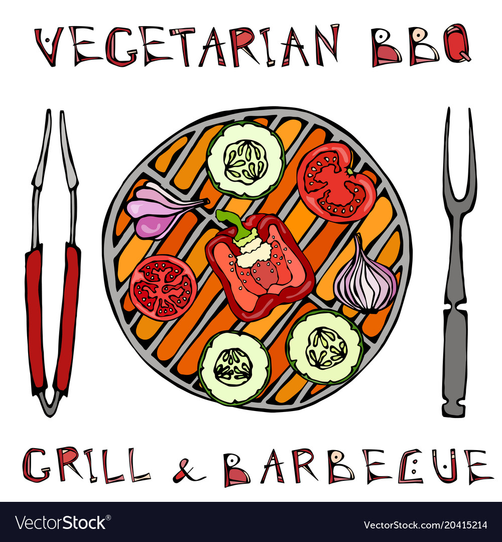 Vegetarian grill vegetable bbq picnic and vector image