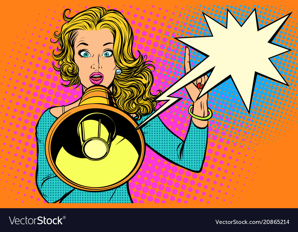 Woman with megaphone protest or advertisement