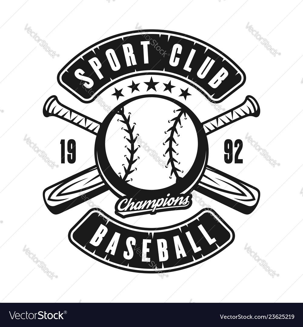 Ball and two crossed baseball bats emblem
