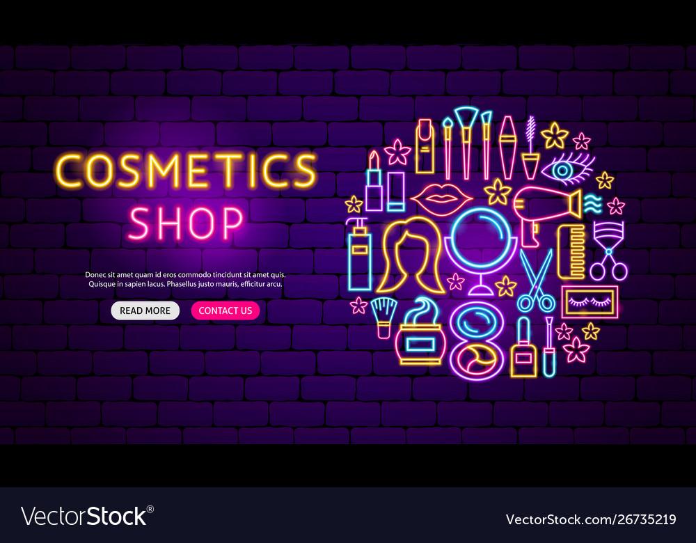 Cosmetics Shop Neon Banner Design Royalty Free Vector Image