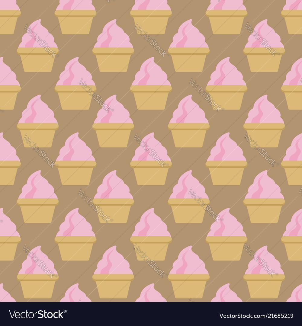 Cupcake pattern beige pink art background
